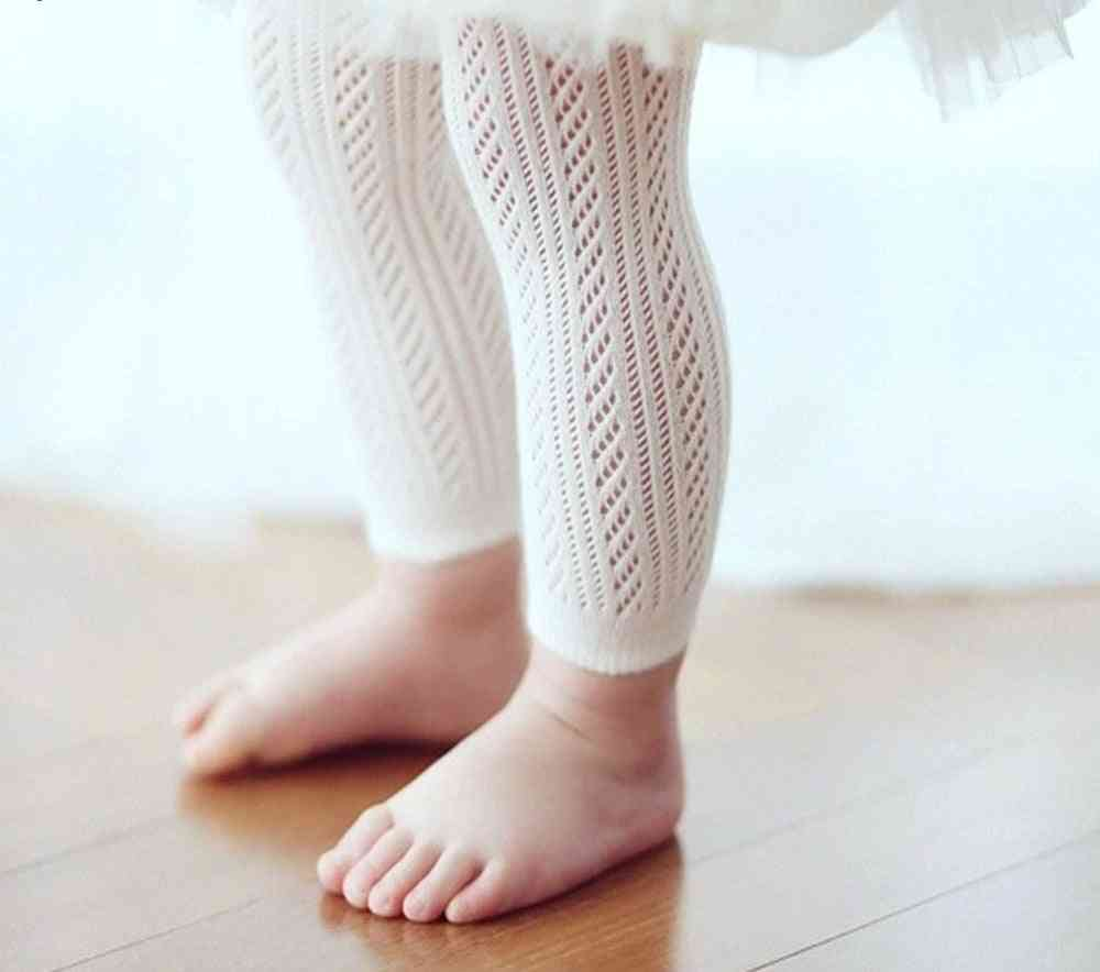 Solid White, Tight Knitting Hollow Out Pantyhose