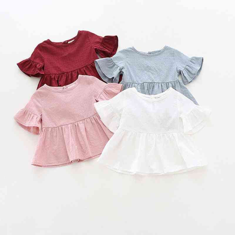 Leaf Sleeve Baby T Shirts,  Long Sleeves Dots
