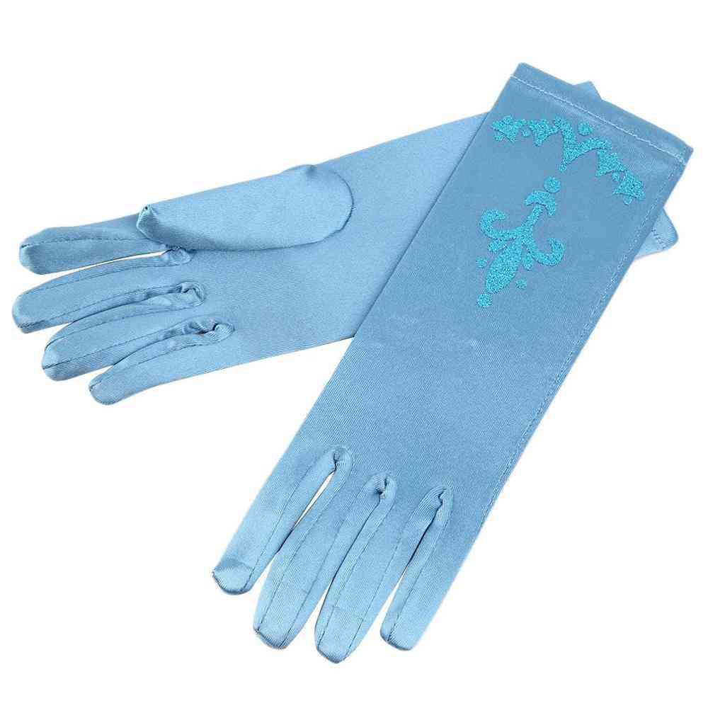 Girls Flower Snow Princess Cartoon Long Gloves