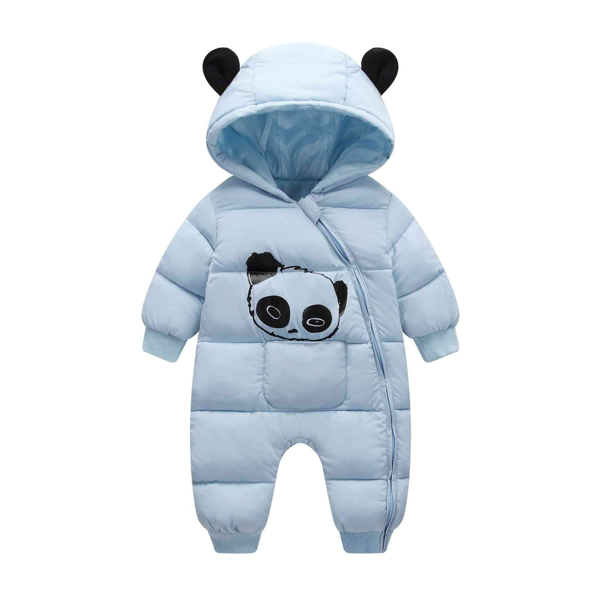 Cartoon Panda Thick Warm Newborn Baby Girl Jumpsuit / Snowsuit Boy Rompers Overalls
