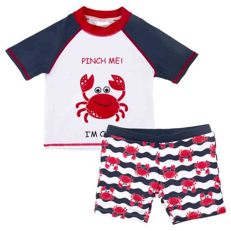 Baby Swimsuit Short Sleeve Top+pants+hat 2pcs Crab Swimwear