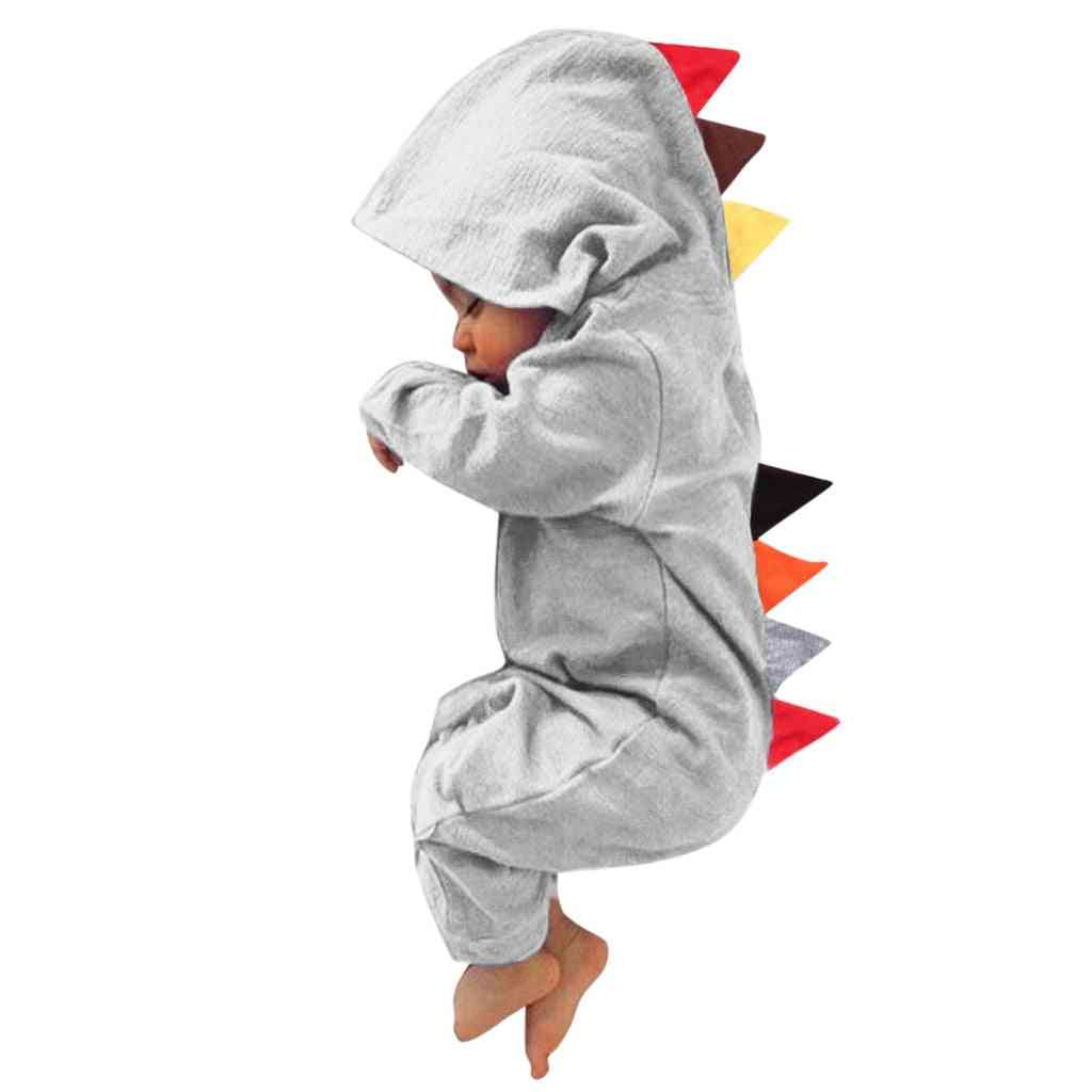 Dinosaur Patchwork, Long Sleeve, Hooded Jumpsuit For Babies
