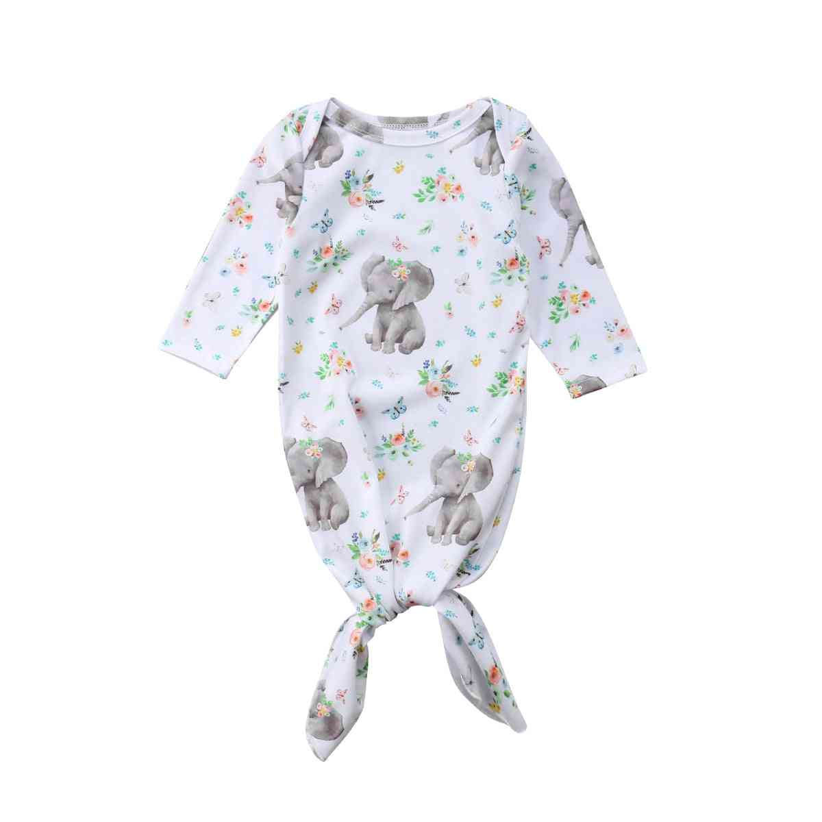 Baby Long Sleeve Elephant Print Floral Swaddle Wrap Outfits