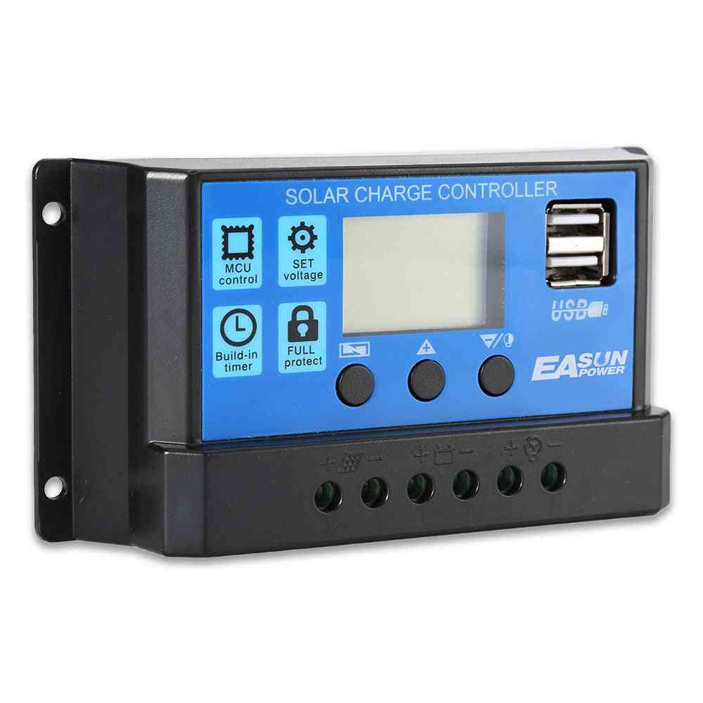 Solar Charge Controller, With Dual Usb And Lcd Display