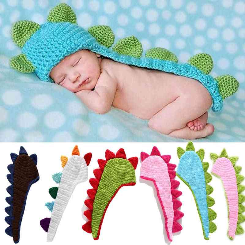 Newborn Baby Photography Props Accessories Dinosaur Hat Soft, Knitted Boy Girl Pictures Costumes Outfit