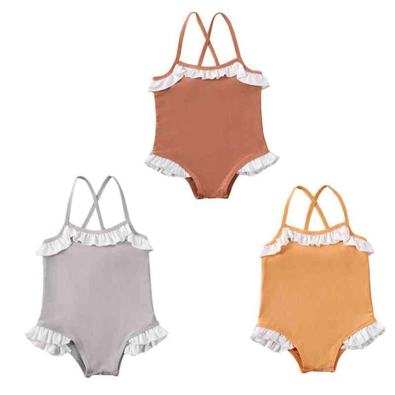 Toddler Baby Cross Sling Swimsuit Ruffled Bikini Swimwear