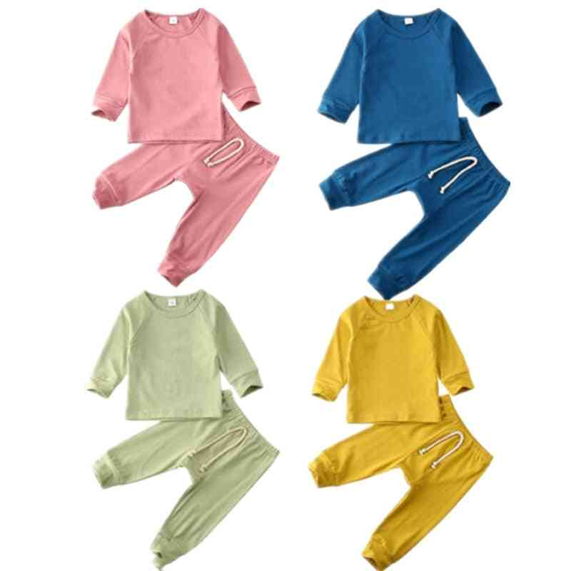 Infant Baby Boy Girl Clothes Sets Solid Pullover Tops T-shirt+long Pants Outfits Pajamas