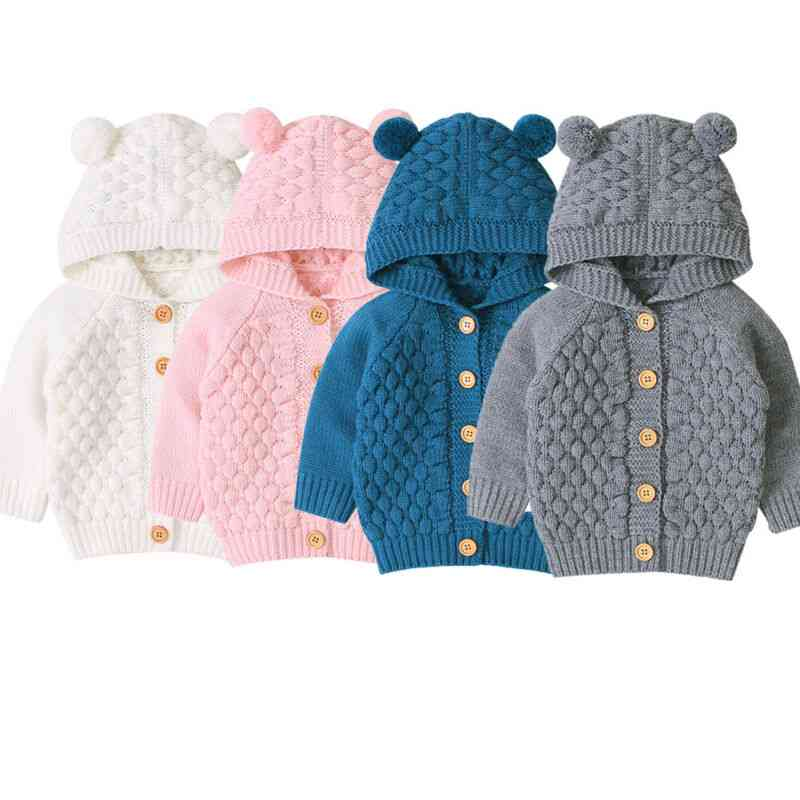 Baby Sweaters Toddler Knitted Outfit Clothes - Cute Hooded With Ear Winter Warm Cardigan Coat Outerwear