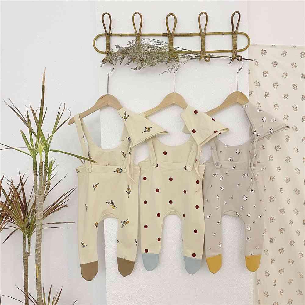Baby Trousers, Clothes Floral Print Overall And Hat Pants