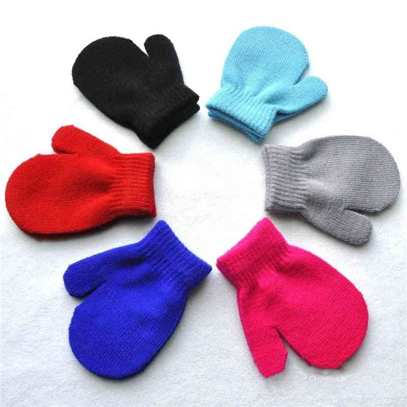 Candy Color Baby Warm Toddlers, Solid Kinting Mittens Gloves