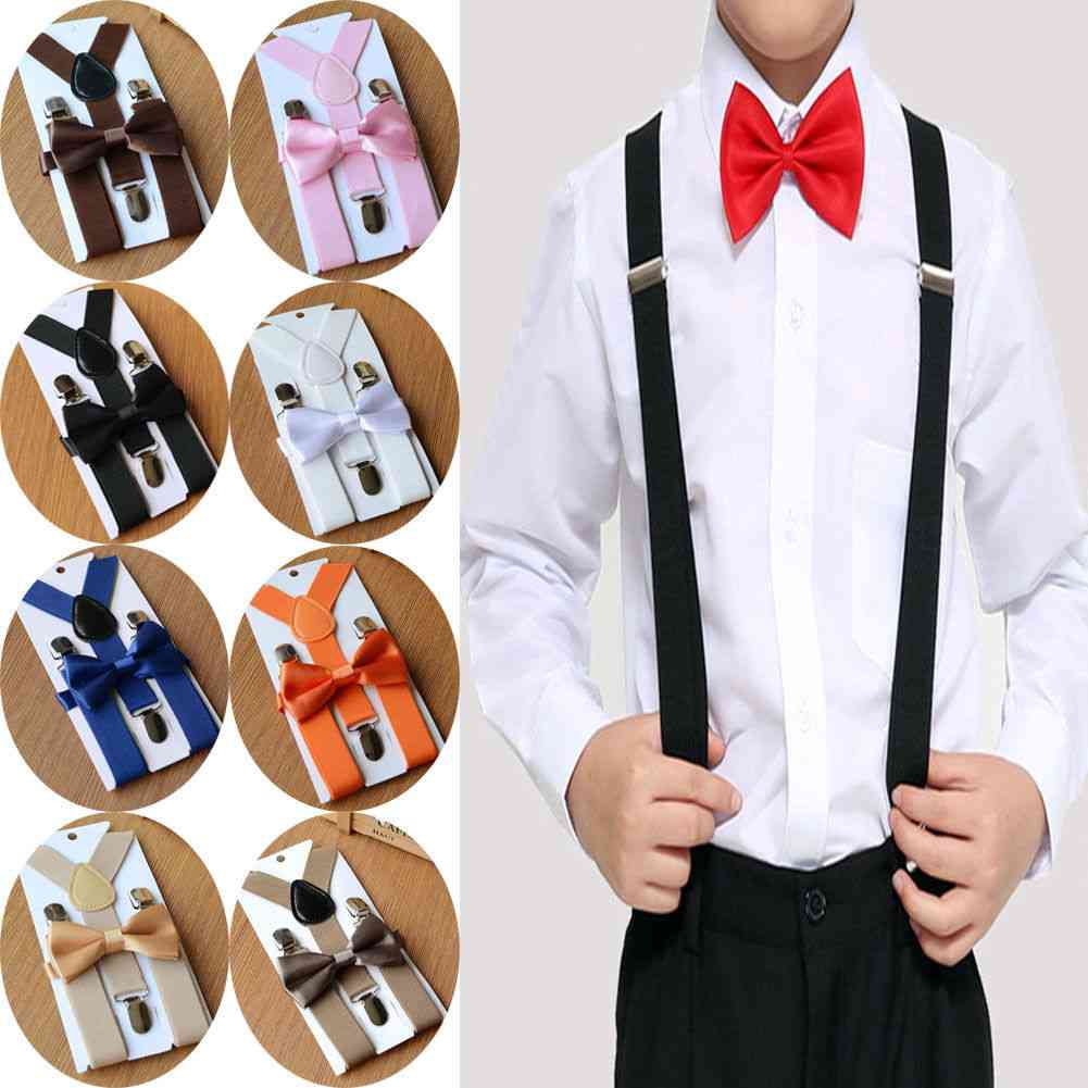 Adjustable Clip-on Braces, Suspender And Bow Tie Set