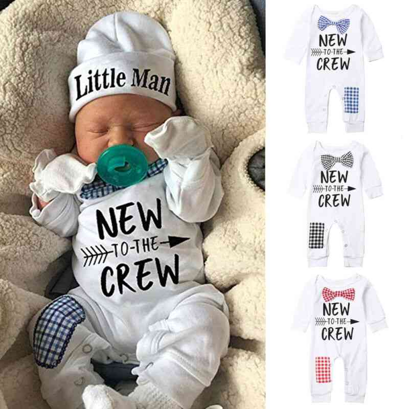 Newborn Baby Cotton Autumn Long Sleeve Romper And Hat Clothes Pants Warm Outfits
