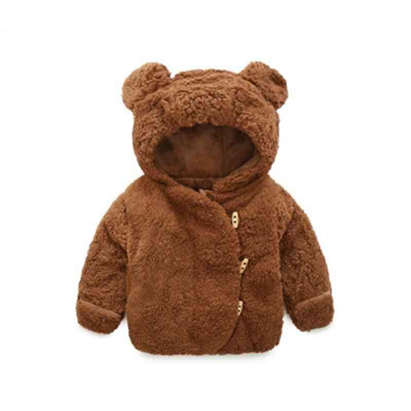 Autumn Winter Baby Clothes Warm Hooded Jacket & Coat Toddler Polar Fleece Cartoon Animal Outerwear