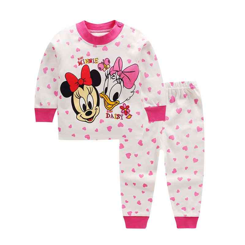 Cartoon Printed, Casual Nightwear, Thermal Pajama Sets For Kids