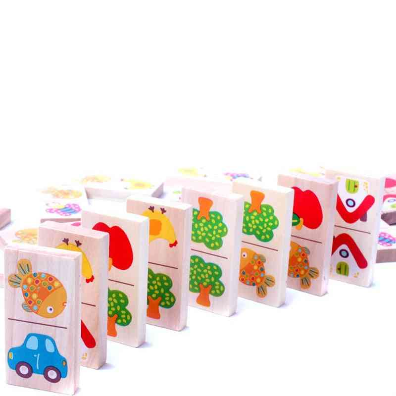 Wooden Domino Fruit Animal Puzzle, Cognitive Building Blocks Toy
