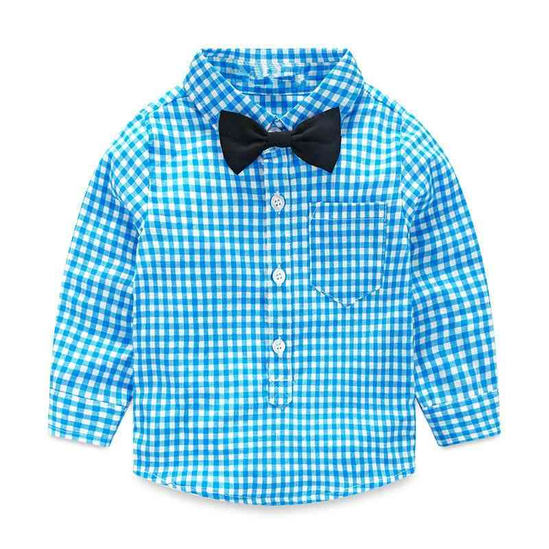 Spring Autumn Plaid Single Breasted - Tie Blouse Cotton Shirt
