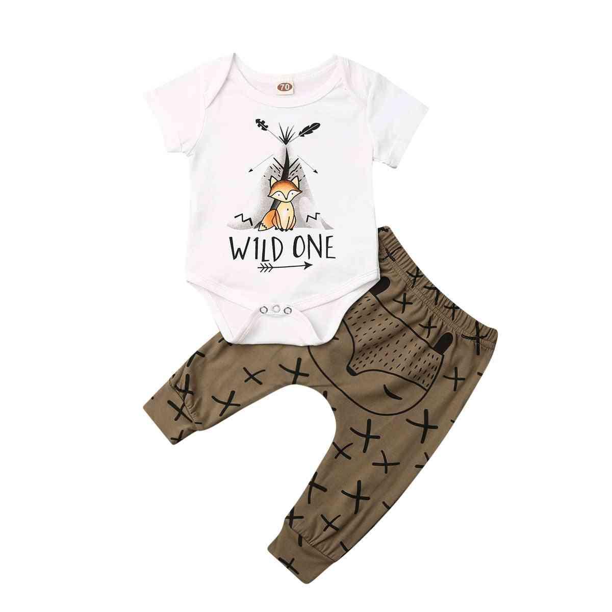 Summer Newborn Baby Boy, Girl Clothes Cartoon Print Short Sleeve Top, Pant