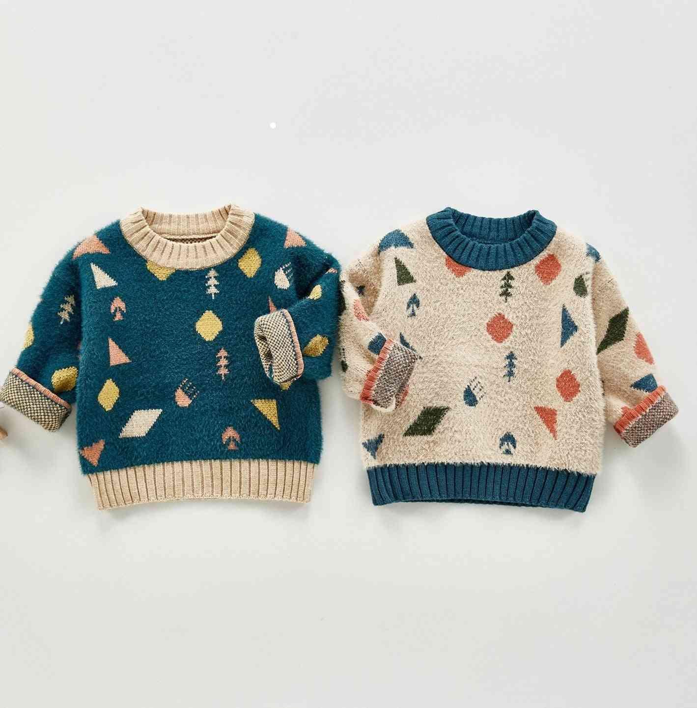 Winter Baby Soft Imitated Mink Wool Geometric Pattern Sweaters