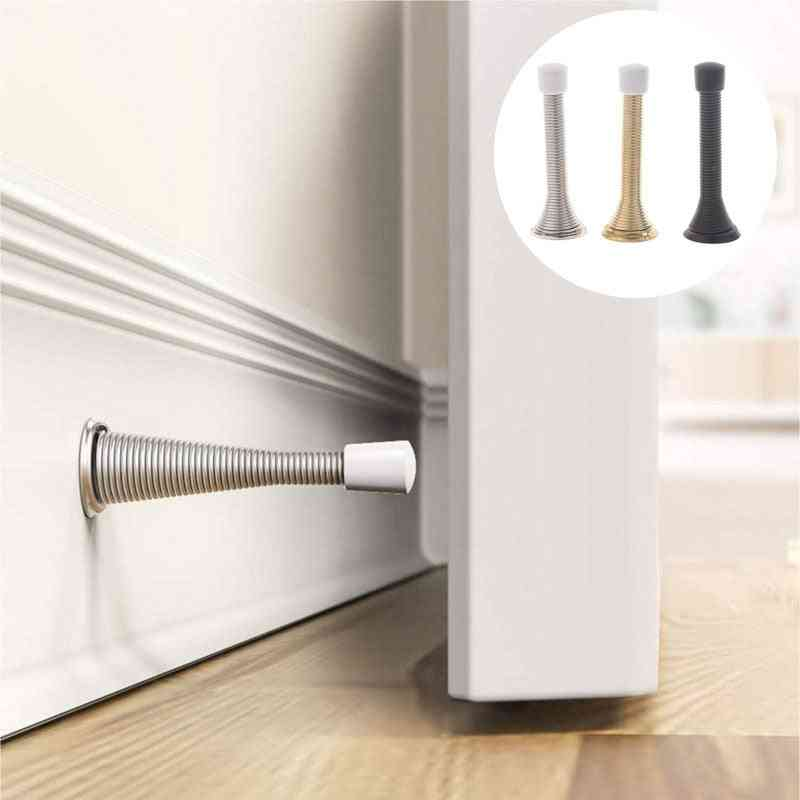 1pc Spring Door Stopper With Mounting Screws And Bases