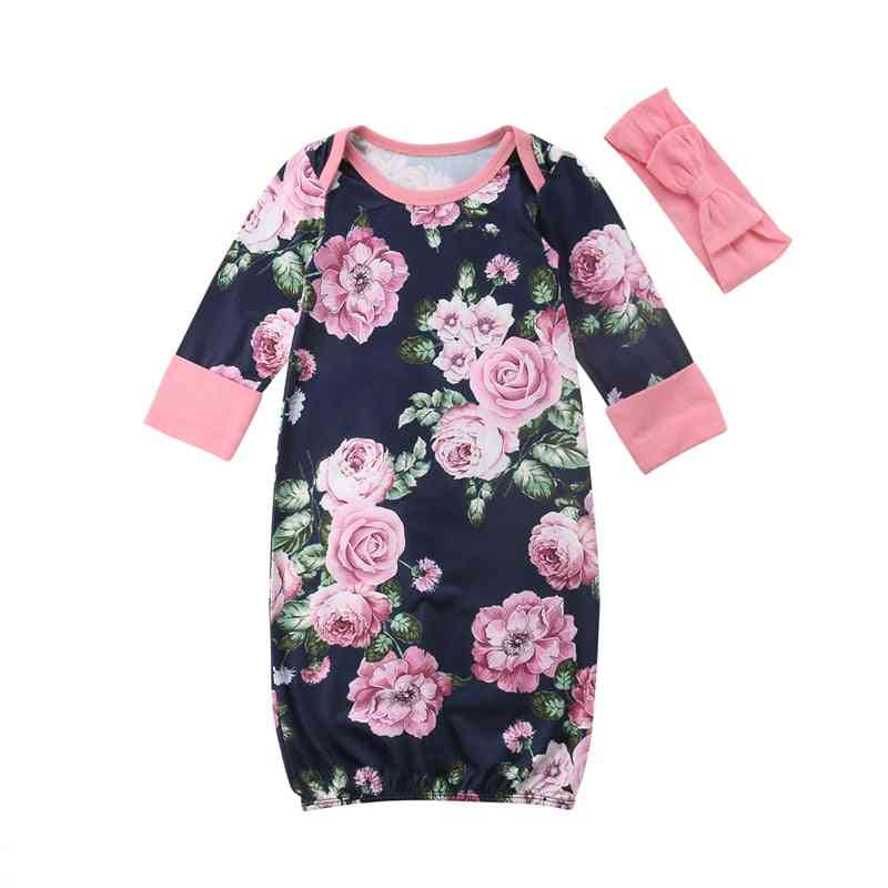 Floral Printed, Round Neck-swaddle Wrap With Headbands For Babies