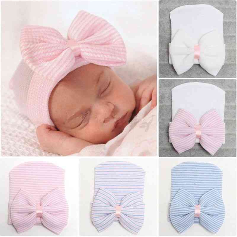Striped Headband With Bow For Newborn Baby