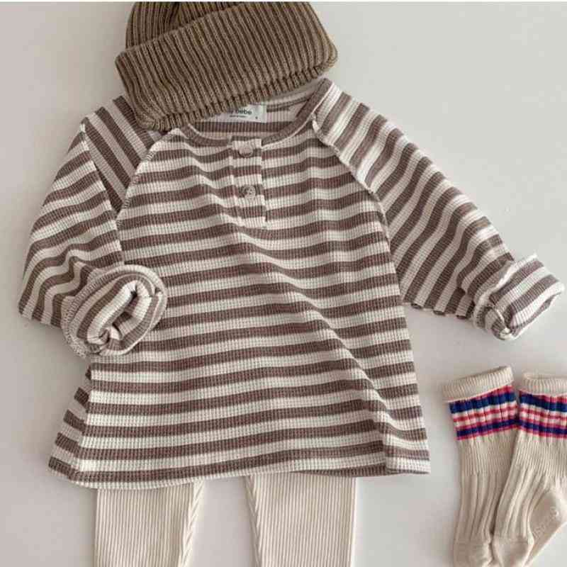 Striped Ribbed Cotton Long Sleeve T-shirt With Buttons - Casual Tops