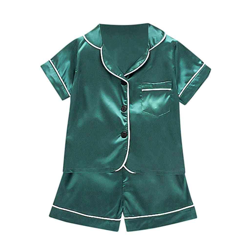 Newborn Baby Boy Clothes Set, Short Sleeve Solid Pocket Pajamas T-shirt & Tops Shorts Pants Sleepwear Suit