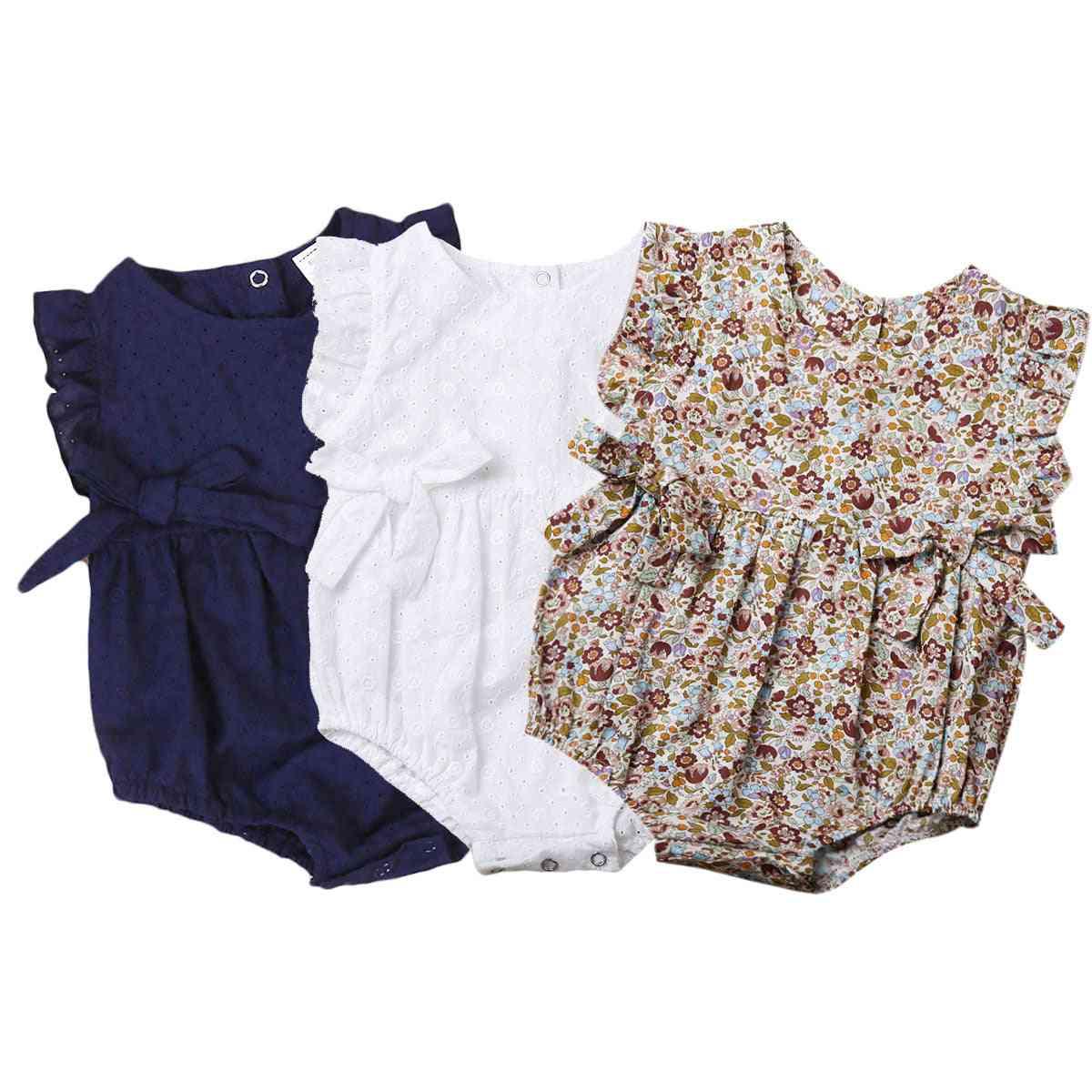 Summer Flower Printed, Ruffles Pattern- Romper For Newborn