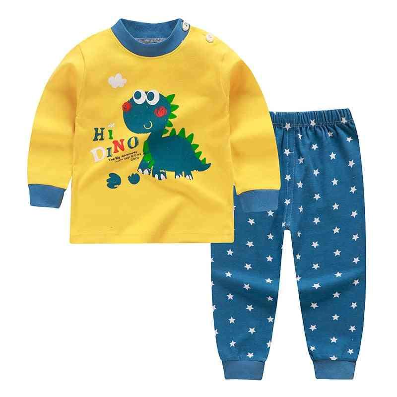 Cartoon Print Baby Pajamas Sets Sleepwear Autumn Spring Winter Long Sleeve Tops+pants