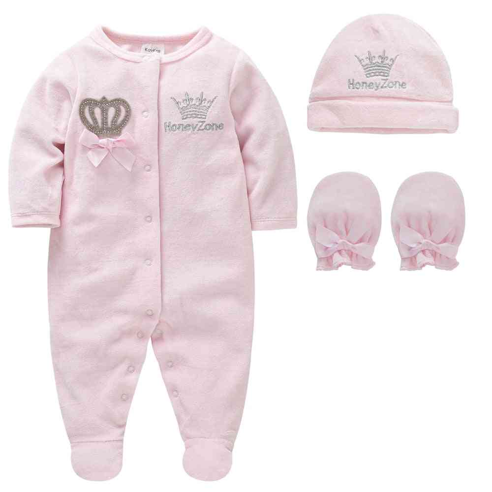 Boy Pijamas Fille With Hats Gloves, Cotton Breathable Soft Rope Newborn Sleepers