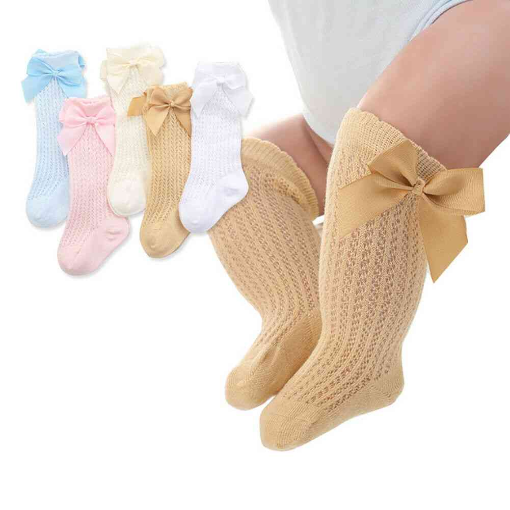 High Knee Socks With Bow Pattern