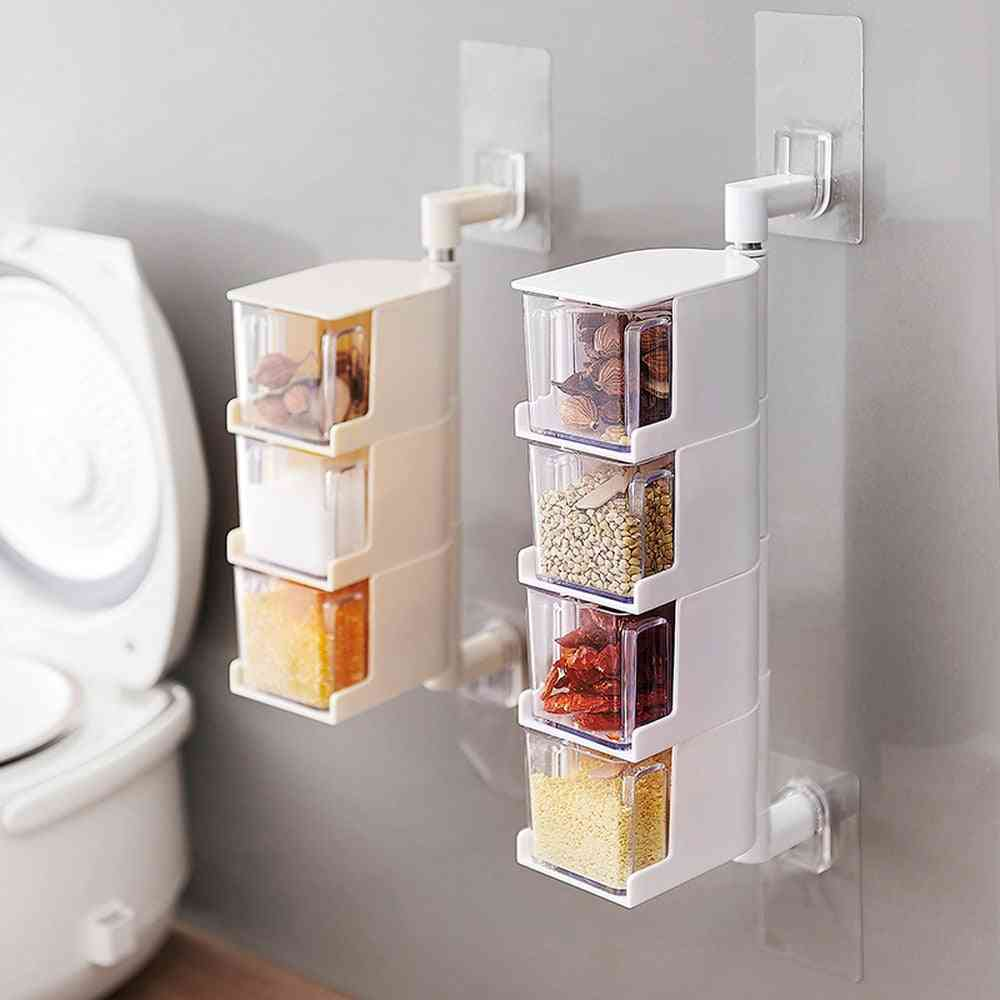 Wall Hanging, Rotating Pulses/spice Storage And Dispenser Boxes