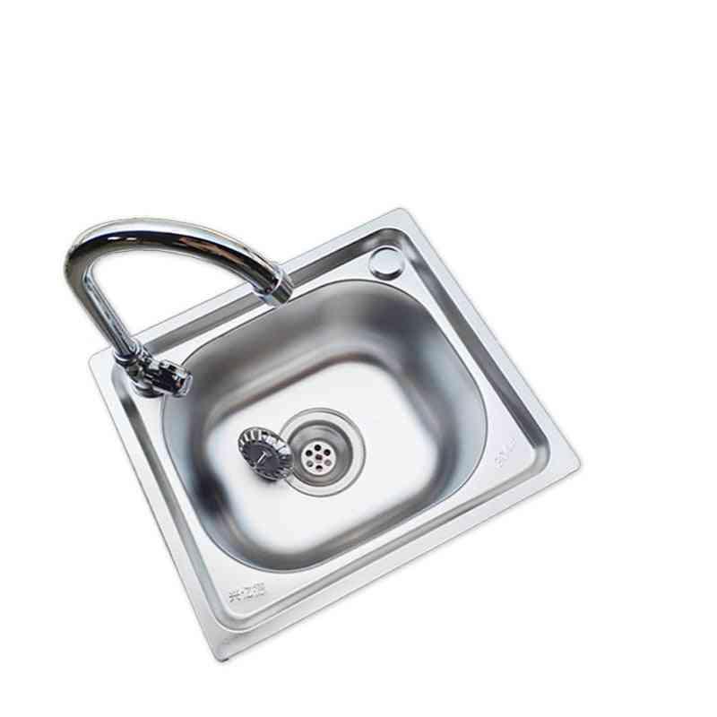 Stainless Steel Single Kitchen Sink, Drain Pipe- Wash Basin Set