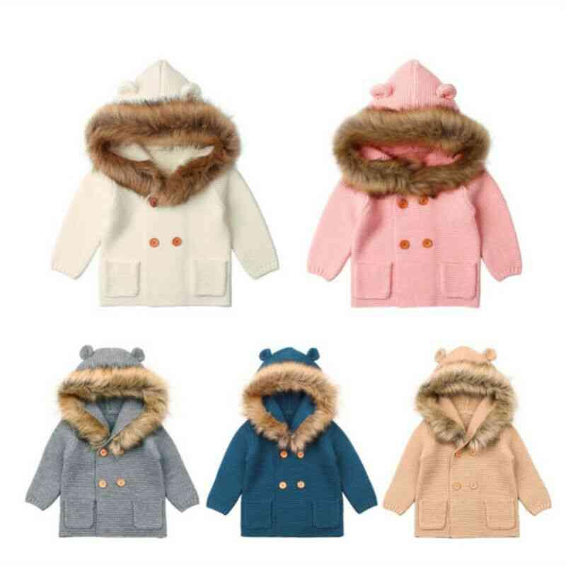 Winter Warm, Hooded Fur Collar Jacket For Kids