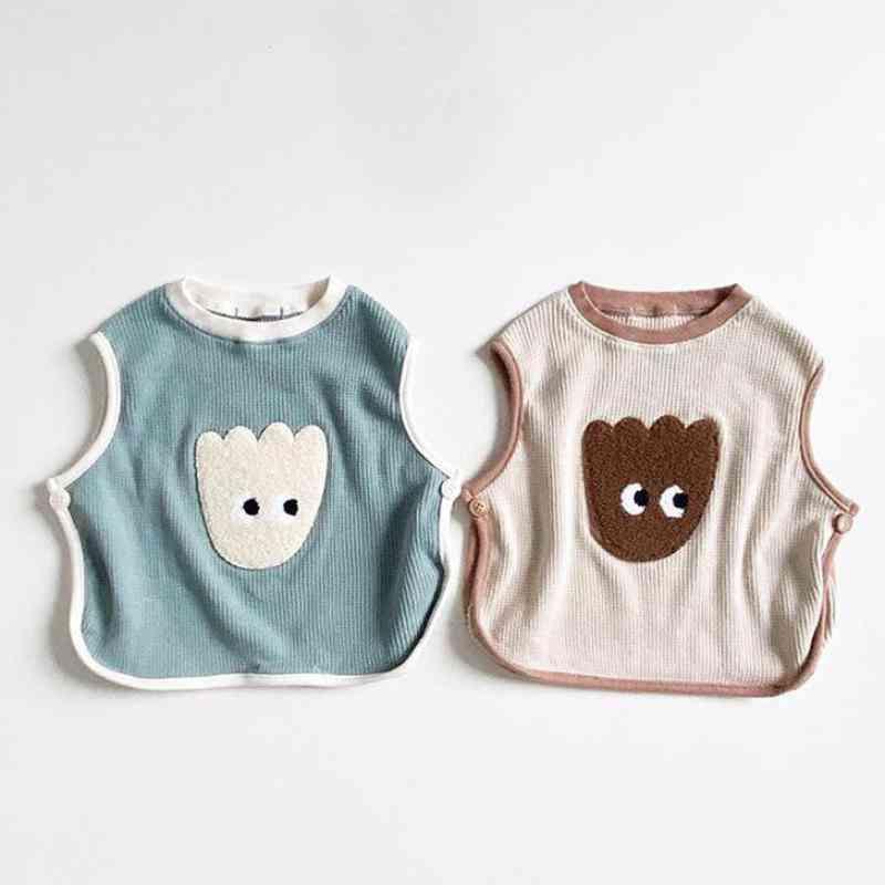 Cartoon Bear Print, Sleeveless T-shirt- Newborn Baby Vest