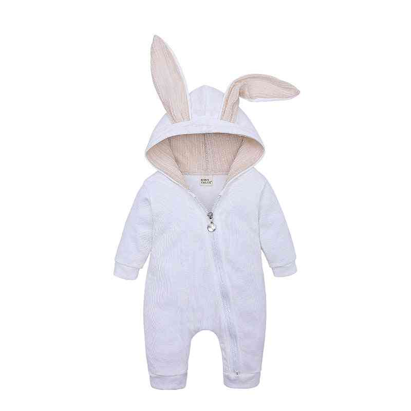 Autumn/winter Clothing- Overall Full Sleeve And Bunny Ear Hooded-baby Rompers