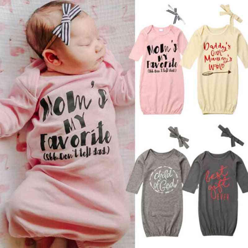 Newborn Baby Girl Letter Swaddle Wrap Blanket Long Sleeve Sleeping Bag+headband Clothing Set