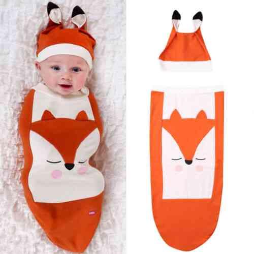 Newborn Boy Girl Fox Sleeping Bag, Infant Warm Blanket Swaddle Wrap Gown Cotton Hat Outfit
