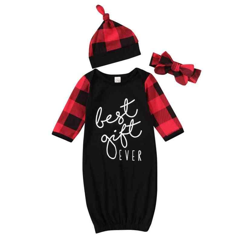 Christmas Baby Cotton Swaddle Blanket Wrap Sleepy Bag Sleepwear Hat For Boy Girl Clothes Set