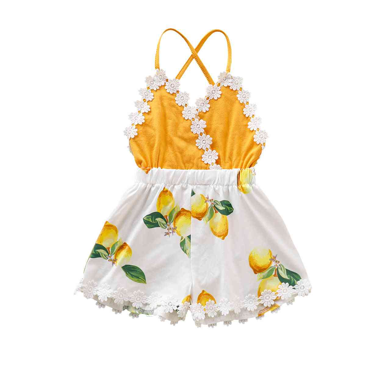 Baby Girl Tassel Backless Lace Patchwork Lemon Printed Fashion Clothes Sunsuit Outfits