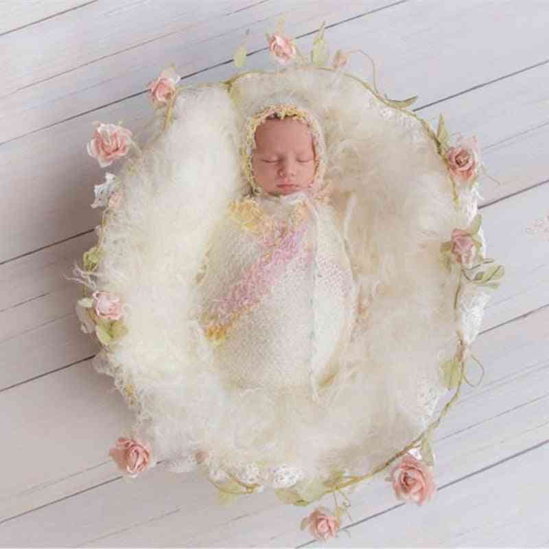 Newborn Photography Props, Lace Wrap With Matching Hat