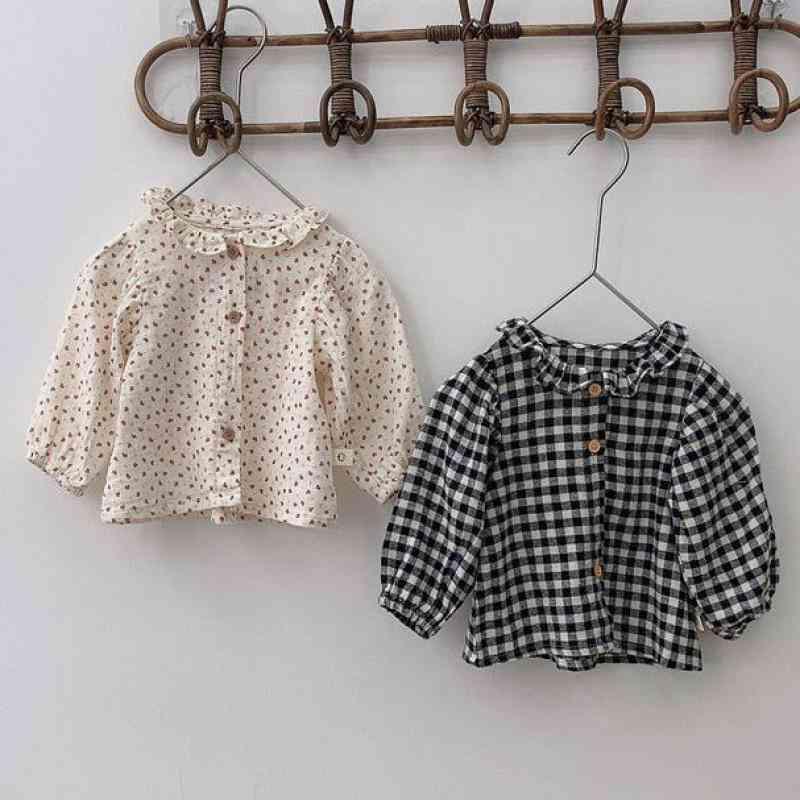Down Collar Pattern, Floral Blouse, Long Sleeve Cotton Shirt, Kids Plaid Tops