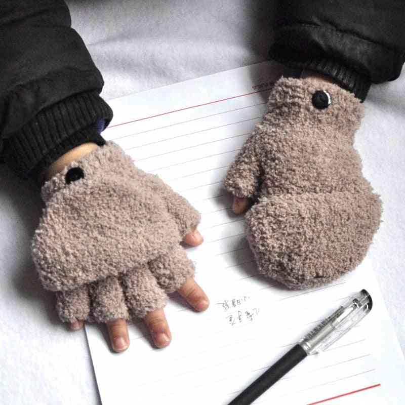 Thicken Half Finger Flap, Winter Warm Baby Gloves