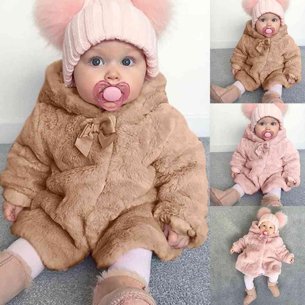 Girl Winter Warm Hooded, Fur Fuzzy Coat Jacket