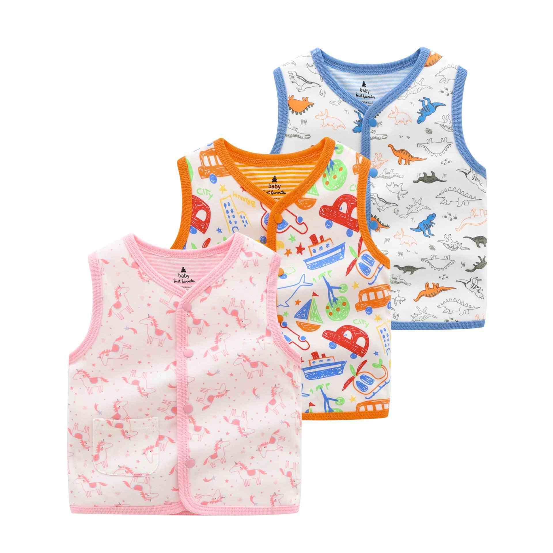 Cartoon Printed, Baby Cotton Vests-warm Outerwear