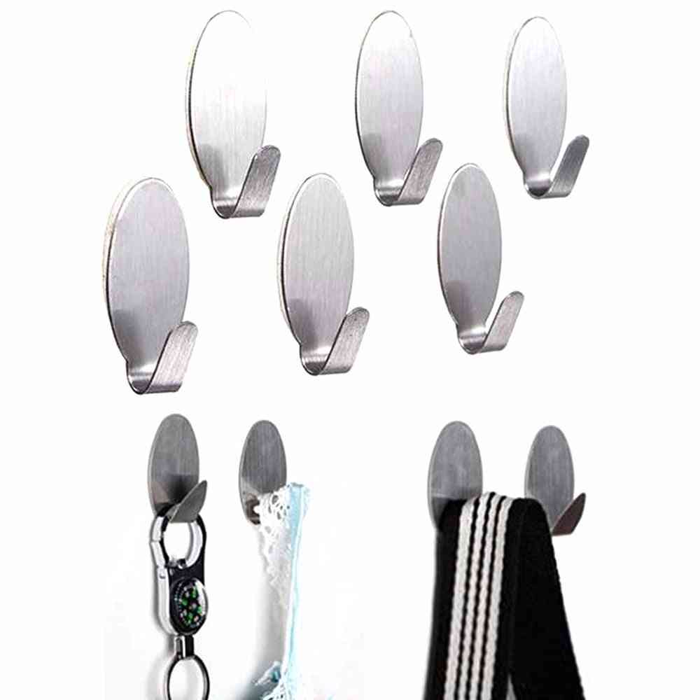 6pcs Strong Self Adhesive Sticky - Stainless Steel Hook / Hanger For Clothes