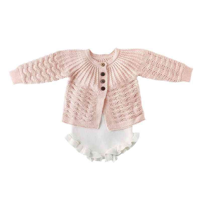 New Sweater Leaves Design Knit Cardigan Romper Clothing Set