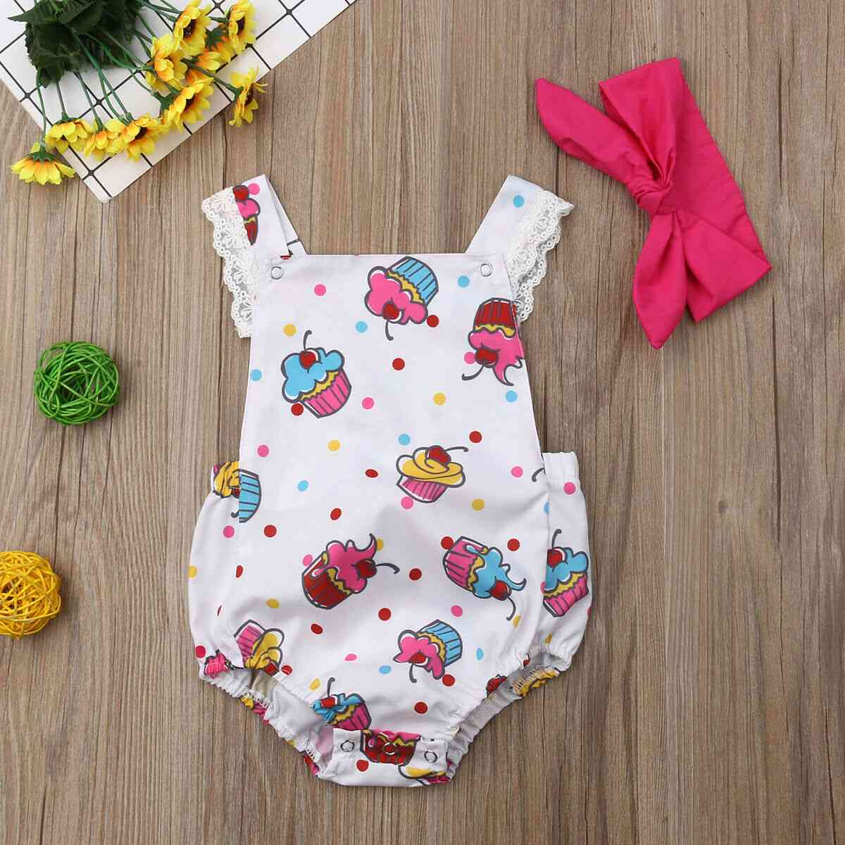 Baby Girl Clothes Ice Cream Print Sleeveless Bodysuit Headband Outfit Clothes Sunsuit