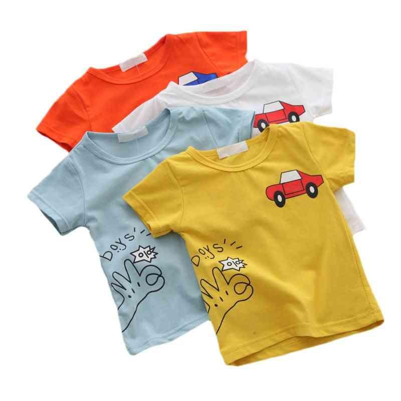 Cartoon Car Printed, Baby Boy's Short Sleeve T-shirts