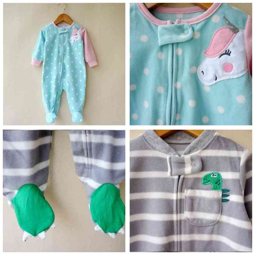 Fashion Unicorn Baby Girl Clothes, Soft Fleece Kids Stay At Home Romper Pajamas